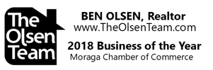 Ben Olsen, Realtor. The Olsen Team. 2018 Business of the Year - Moraga Chamber of Commerce